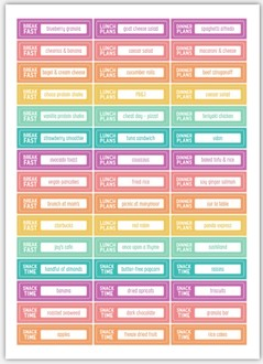 Colorful Meal Planning Custom Planner Stickers
