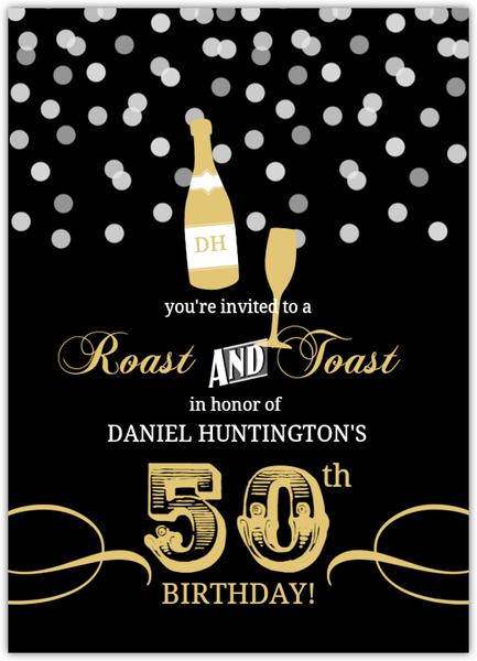 gold and black rustic confetti 50th birthday invitation