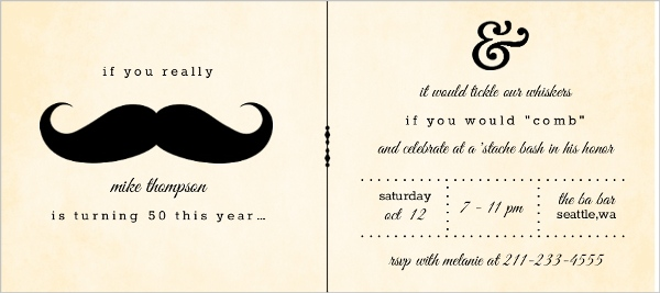 Mustache 50Th Birthday Party Invitation 50th Birthday Invitations