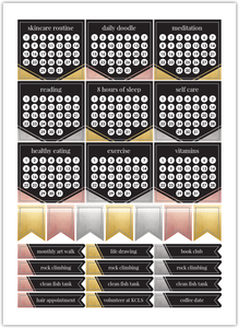 Faux Metallic Habit Tracker Custom Planner Stickers