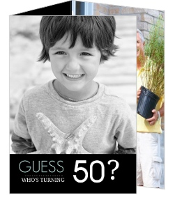 Black Trifold Guess Who Birthday Invite