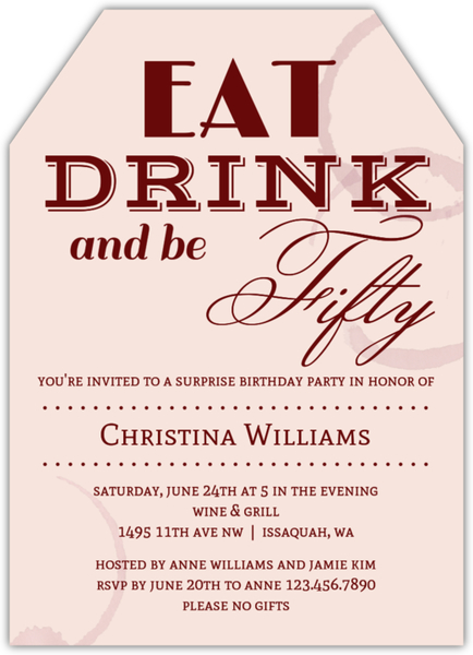 Eat Drink and Be 50th Birthday Invitation