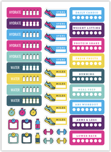 Colorful Fitness Habit Tracker Custom Planner Stickers
