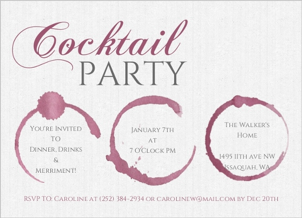 Wine Stain Cocktail Party Birthday Invitation