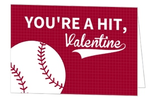 You're A Hit Baseball Valentine's Day Card