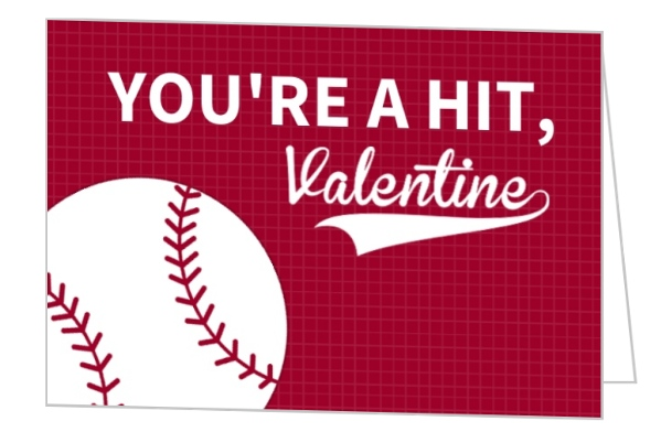 Youre A Hit Baseball Valentines Day Card