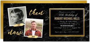 Faux Gold & Marble 50th Birthday Invitation