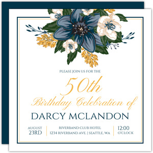 Modern Blue Floral 50th Birthday Invitation