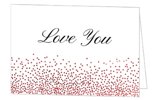 Classic Red Confetti Foil Love You Valentines Card