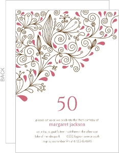50th birthday invitations pink floral vines 50th birthday party invitation stopboris Choice Image