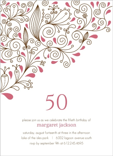 Pink Floral Vines 50Th Birthday Party Invitation 50th Birthday
