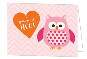 Chevron Owl Valentine's Day Card