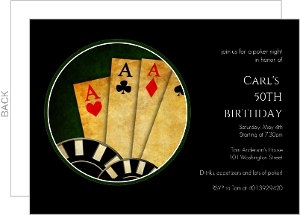 Black Poker Night 50Th Birthday Invitation