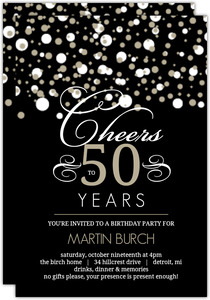 White And Taupe Elegant Confetti 50th Birthday Invitation