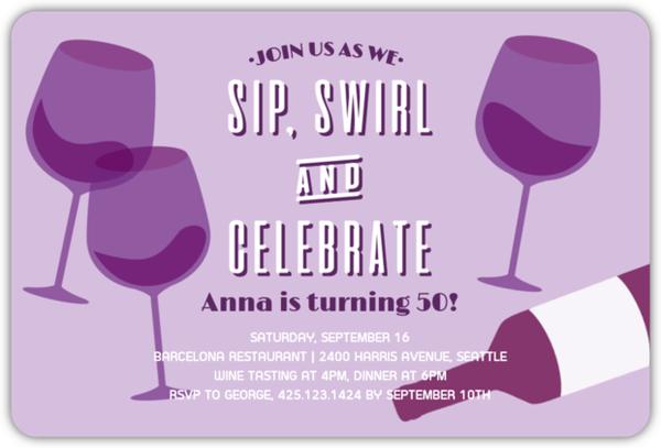 Vintage Wine Glasses 50th Birthday Invitation