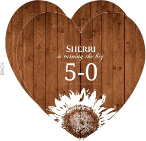 Wood Grain And Sunflower 50Th Birthday Invitation