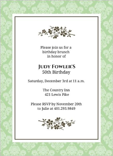 simple elegant flower 50th birthday invitation 50th birthday