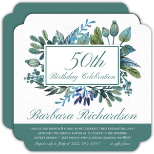 Turquoise Foliage 50th Birthday Invitation