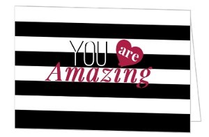 Modern Striped You Are Amazing Valentines Card
