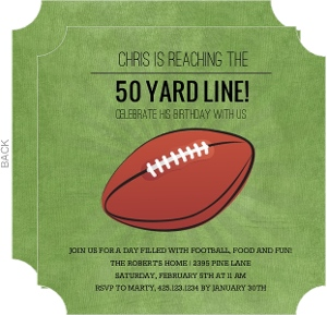 50 Yard Line Football Birthday Party Invitation