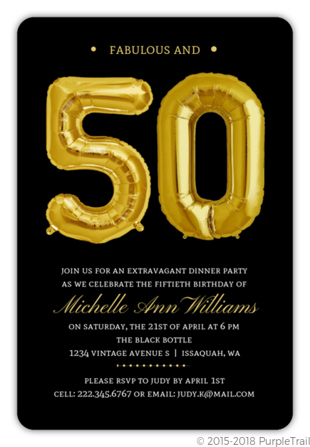 Giant Faux Foil Balloons 50th Birthday Invitation