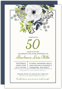 Elegant Floral Decor 50th Birthday Invitation