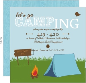 Let S Go Camping 50Th Birthday Invitation