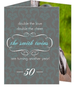 Damask And Grey Twins 50Th Birthday Invitation