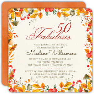 Autumn Foliage 50th Birthday Invitation