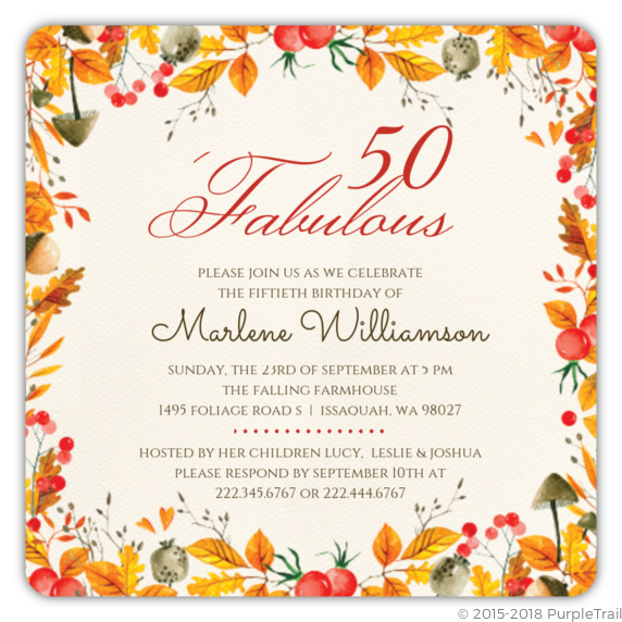 Autumn Foliage 50th Birthday Invitation