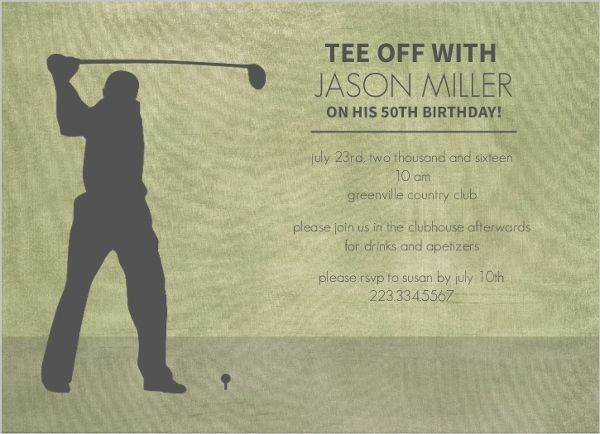 Golf 50Th Birthday Party Invite