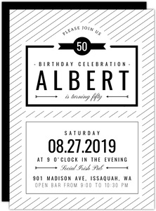 Modern Black & White 50th Birthday Invitation