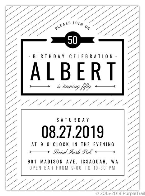 Modern Black White 50th Birthday Invitation