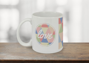 Geometric Pastel Love Coffee Mug