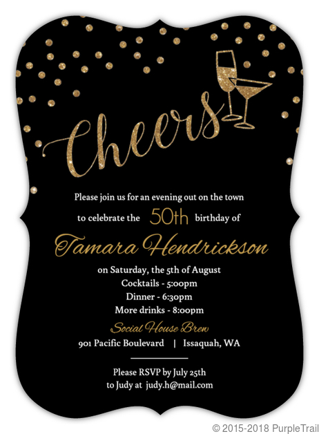 Faux Gold Glitter Cheers Glitter 50th Birthday Invitation