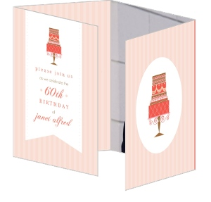 Peach And Coral Cake 60Th Birthday Invitation