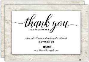 Rustic Wood Border Business Thank You Card