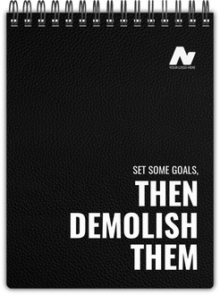 Faux Leather Cover Motivational Business Notebook