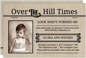 Over The Hill Times  60th Birthday Invitation