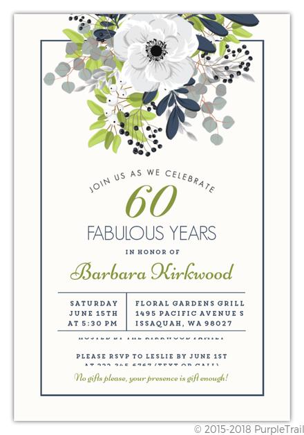 Elegant Floral Decor 60th Birthday Invitation