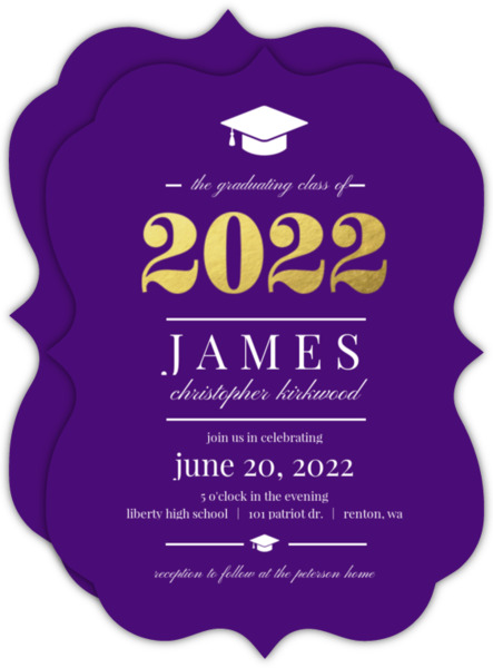 Gold Foil Elegant Stripes Graduation Invitation