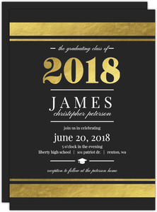 Goid Foil Elegant Stripes Graduation Invitation