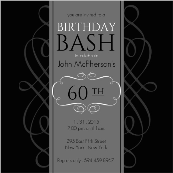 Black and Grey Formal Soiree 60th Birthday Invite 60th Birthday