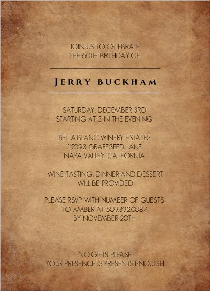 aged perfection 60th birthday invitation 60th birthday invitations