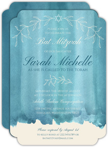 Turquoise Watercolor Decor Bat Mitzvah Invitation