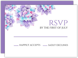 Lavender Watercolor Succulents Bat Mitzvah Response Card