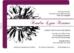 Black Sunflower and Purple Accent Bat Mitzvah Invitation
