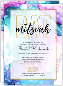 Modern Watercolor Paint Bat Mitzvah Invitation