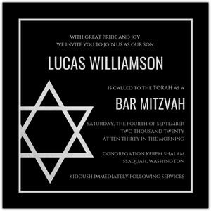 Blue and Orange Bar Mitzvah Invitation and Response Card