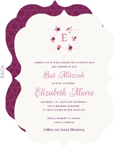 Pink Floral Star Bat Mitzvah Invitation